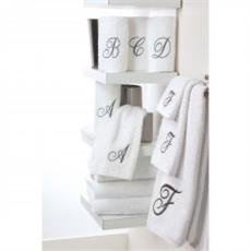 Monogrammed Towels White/Silver Script | By DomesticBin