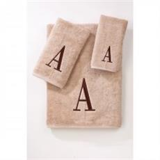 Monogrammed Towels Linen/Brown Block Letter | By DomesticBin