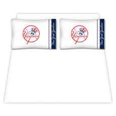 New York Yankees Microfiber Sheet Sets & Extra Pillowcase- Red Top Hat | By DomesticBin