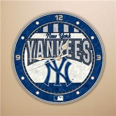 "New York Yankees 12"" Art Glass Clock 