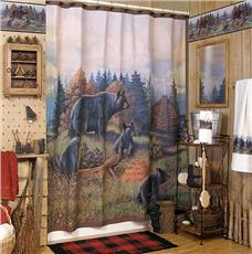 BLACK BEAR LODGE Shower Curtain & Accessories