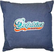 "MIAMI DOLPHINS 18"" Denim Pillow 