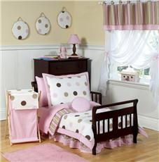 Pink & Brown Modern Polka Dots 5pc Toddler Bedding Set | By DomesticBin