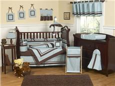 Blue & Brown Hotel 9pc Crib Bedding Set | By DomesticBin