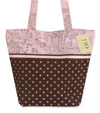 Pink & Brown Toile Tote Bag | By DomesticBin
