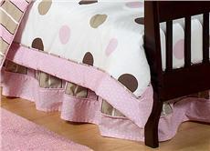 Pink & Brown Modern Polka Dots Crib/Toddler Bedskirt   By DomesticBin