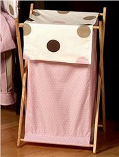 Pink & Brown Modern Polka Dots Hamper   By DomesticBin