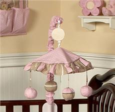 Pink & Brown Modern Polka Dots Musical Crib Mobile   By DomesticBin