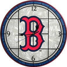 "Boston Red Sox 12"" Art Glass Clock 