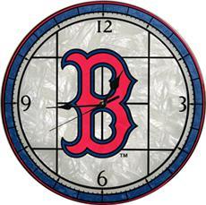 "Boston Red Sox 12"" Art Glass Clock | By DomesticBin"