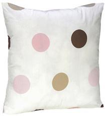 "Pink & Brown Modern Polka Dots 18"" Decorative Pillow   By DomesticBin"