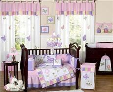 Butterfly Pink & Lavender 9 pc Crib Bedding Set | By DomesticBin