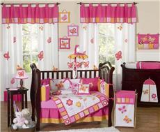 Butterfly Pink & Orange 9 pc Crib Bedding Set | By DomesticBin