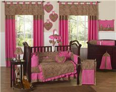 Cheetah Pink 9 pc Crib Bedding Set | By DomesticBin