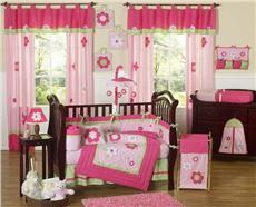 Flower Pink & Green 9 pc Crib Bedding Set | By DomesticBin