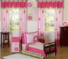 Flower Pink & Green 5pc Toddler Bedding Set | By DomesticBin