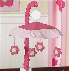 Flower Pink and Green Musical Crib Mobile | By DomesticBin