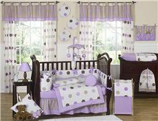 Mod Dots Purple 9 pc Crib Bedding Ensemble | By DomesticBin