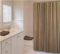 Cocoa Stripe Shower Curtain | By DomesticBin