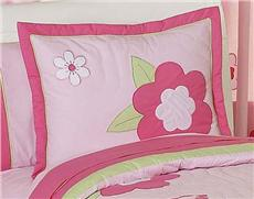 Flower Pink & Green Pillow Sham | By DomesticBin