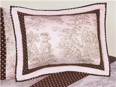Pink Brown Toile Pillow Sham | By DomesticBin