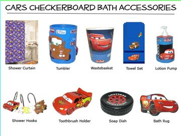Cars Blue Checkerboard Shower Curtain & Accessories