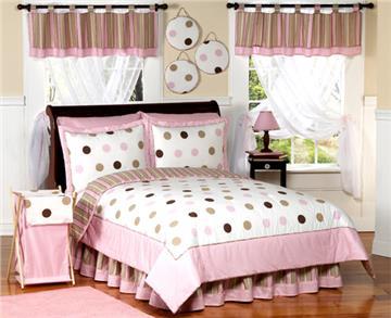 Pink & Brown Modern Polka Dots Bedding Sets for Kids
