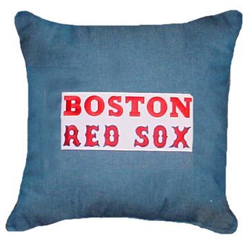 "BOSTON RED SOX Denim 18"" Square Pillow | By DomesticBin"