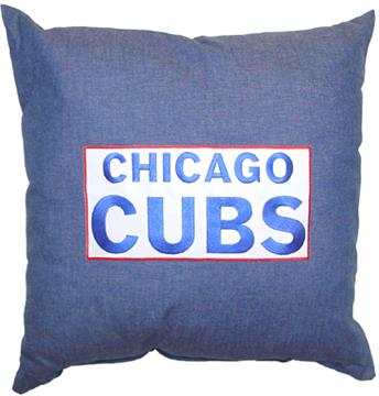 "CHICAGO CUBS 18"" Denim Square Pillow 