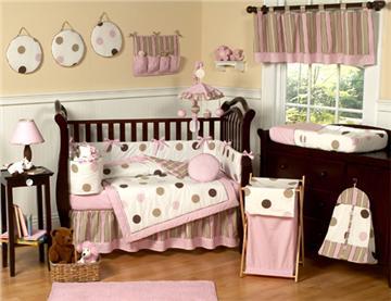 Pink & Brown Modern Polka Dots 9pc Crib Bedding Set   By DomesticBin