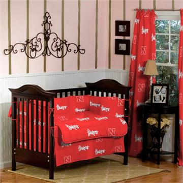 University of Nebraska Collegiate Baby Crib Set   By DomesticBin