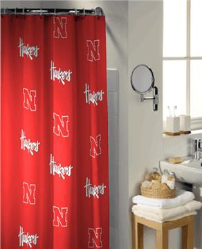 University of  Nebraska Collegiate Shower Curtain | By DomesticBin