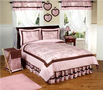 Pink & Brown Toile Bedding Sets for Kids
