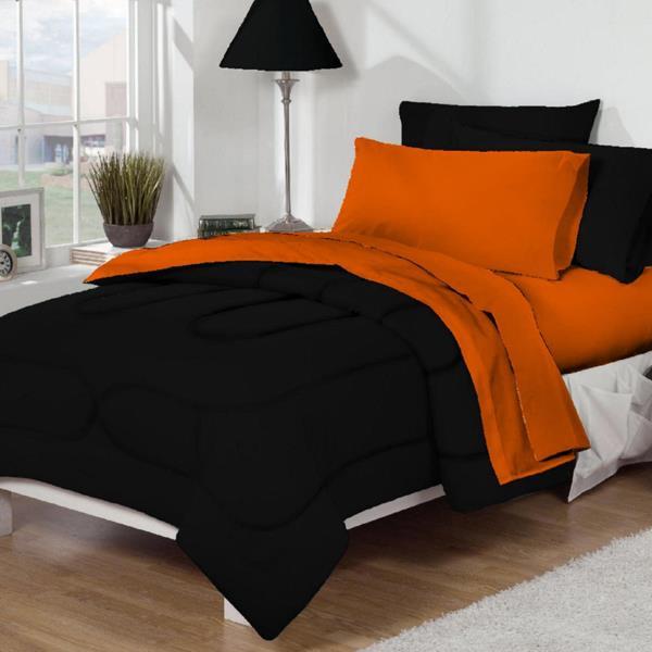 Dorm Room Bed Amp Bath Xl Twin Size 10 Pc Set Black And Orange