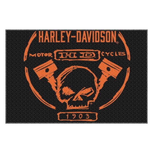 Harley Davidson Build Willie G Skull Piston Tufted Rug