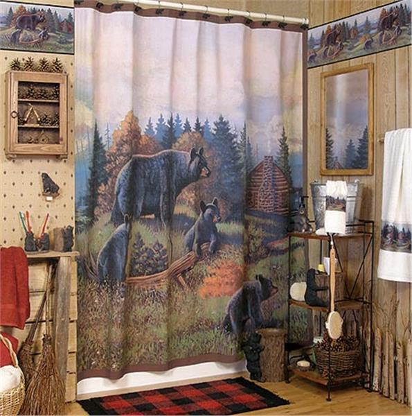 Black Bear Lodge Shower Curtain Amp Accessories