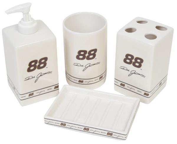 Nascar 88 dale jarrett 4 pc bathroom set for Ceramic bathroom bin