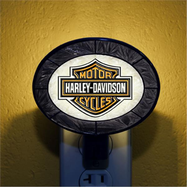 Harley Davidson Black Art Glass Night Light
