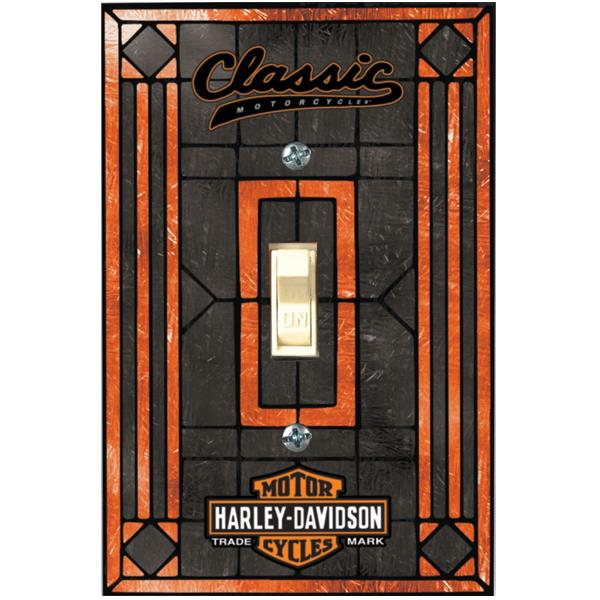 Harley Davidson Classic Single Art Glass Switch Plate Cover